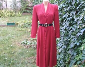 Buttoned Dress /  Dress Vintage / Red  Dress / EUR 40 / UK12 / Long Dress / Viscose / Poly