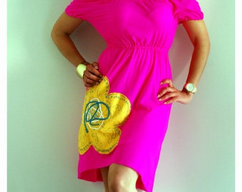 Pink, Peasant Dress, Yellow Flower, Asymetrical dress, Spring Summer, Yellow Flower MiXeDesigns lab
