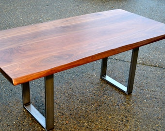 Conference Table - Walnut With Live Edge - Steel Base