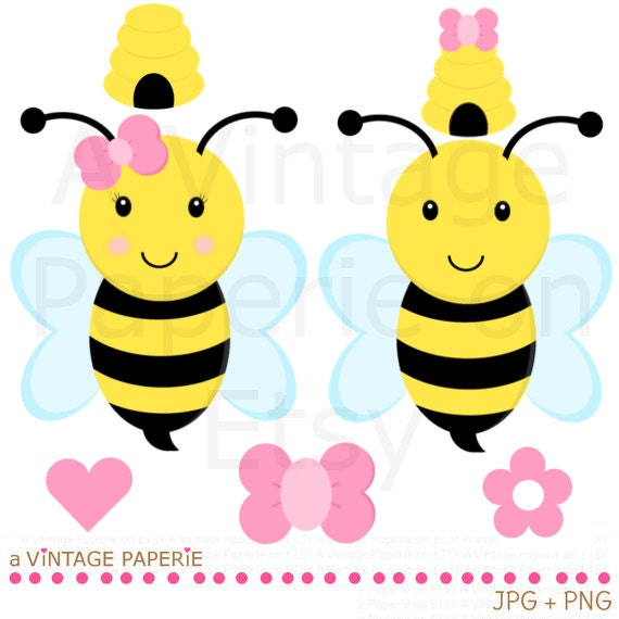 Yellow Bee Clip Art Bumble bee clipart // bumble