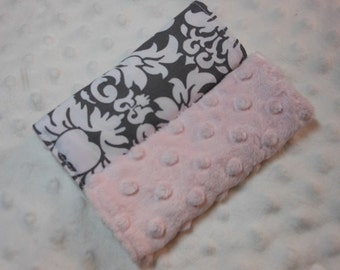 Charcoal Damask Infant/Toddler Reversible Car Seat Strap Covers (Choice of minky)