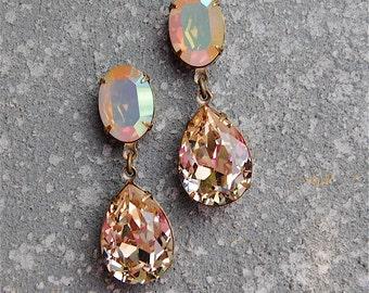 Aurora Borealis Opal Ballet Pink Earrings Swarovski Crystal Pastel Earrings Tear Drop Dangle Rhinestone Earrings Duchess Hourglass Mashugana