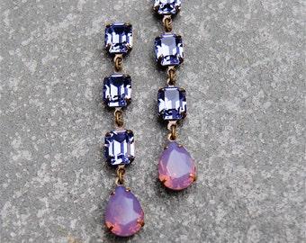 Purple Opal Earrings Swarovski Crystal Vintage Opal Earrings Tear Drop Post Dangle Pear Rhinestone Earrings Sandrine Mashugana