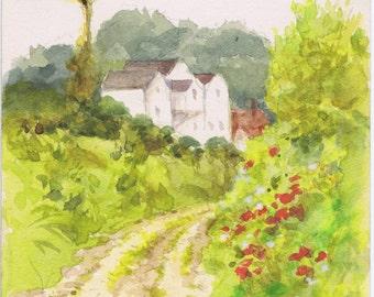 Antique Vintage Country Lane Hedge Row Flowers Buildings Original European Waterolor Painting 1922 Frameable