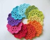 Rainbow Coasters - Handmade crocheted ( Set x 10)