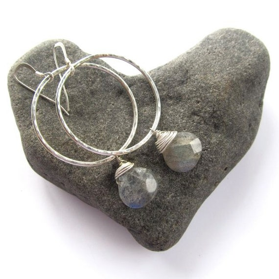 Silver Hammered Hoop Earrings, Wire Wrapped, Labradorite, Summer Fashion, Handmade, Gemstone Jewelry