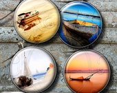 Boats - Digital Collage Sheet CG-669C 1.5 in, 1.25 in, 30mm, 1 in, 25mm circles printable images for pendants cabochons bottle caps crafts