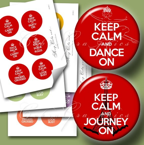 """Keep Calm... -  2.625"""" circles - Digital Collage Sheets CG-433M - for Mirrors, Magnets, Buttons"""