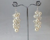 Ivory and crystal chunky pearl earrings - wedding jewelry bridal jewelry