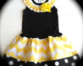 Girls Black/Yellow Chevron Dress Girls Dresses Baby Dress Bumble Bee Party Chevron Dress Available 6 months through Size 8