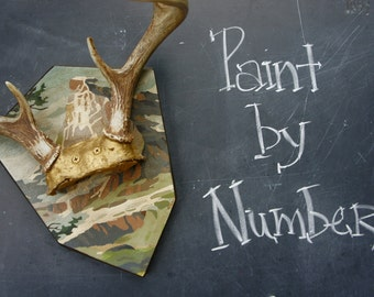 Antlers with Vintage Paint by Number Woodland Decor Deer Antlers Taxidermy Wedding Nursery