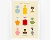 Learn the Shapes Animal Children Wall Art Poster, Nursery Art, Children Room Decor, Classroom Decor