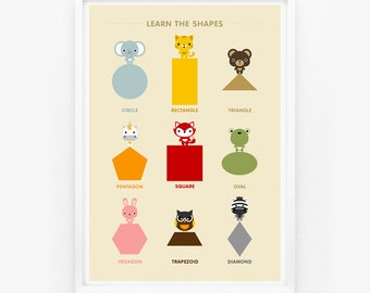 SALE Learn the Shapes Animal Children Wall Art Poster, Nursery Art, Children Room Decor, Classroom Decor