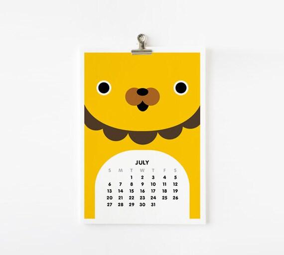 FREE SHIPPING - 2014 Calendar Cute Animal 5x7