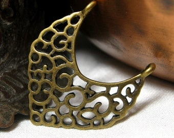 Earring Findings Antique Brass Arabesque or Indian Style 6 pieces Filigree