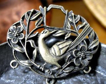 Chandelier Component Zinc Alloy Antique Bronze Bird and Branches 42mm x 37mm 2 pieces