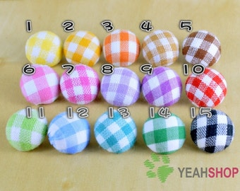 Fabric Covered Buttons - Checked - 15mm - 6pcs of same color (FCB12)