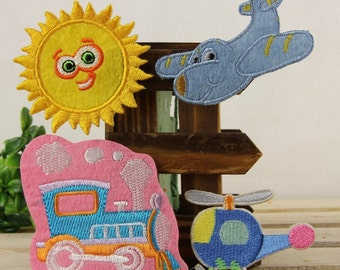 Iron on Fabric Patches - Sun Airplane Train Helicopter - Set of 4 - FP29