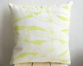 Handprinted Organic Pillow Cover Lemon Yellow 16 x 16''