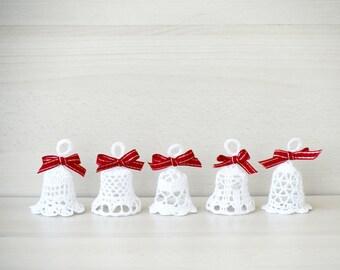 Crochet Christmas ornaments, lace bell crochet, rustic Christmas bells, jingle bell crochet, set of 5