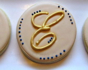 Monogram Wedding Favor cookies 2 dozen