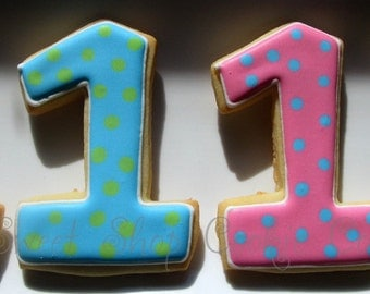 Polka Dot Number Cookies 2 dozen