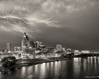 fine art print of Nashville TN skyline with a lightning bolt. Black and white with a sepia tone