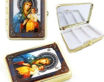 Virgin Mary Russian Icon Keepsake Pill Box w Mirror-   2-4 days shipping time to most USA states by USPS  mail  with tracking.