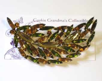 "Leaf Brooch In Fall Colors / Citrine, Olive / Skinny Navettes 3 7/16"" / Prong Set / D&E Juliana Style / FREE Us Shipping"
