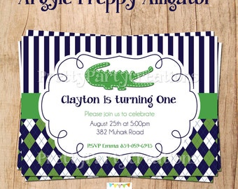 ARGYLE PREPPY ALLIGATOR invitation - You Print