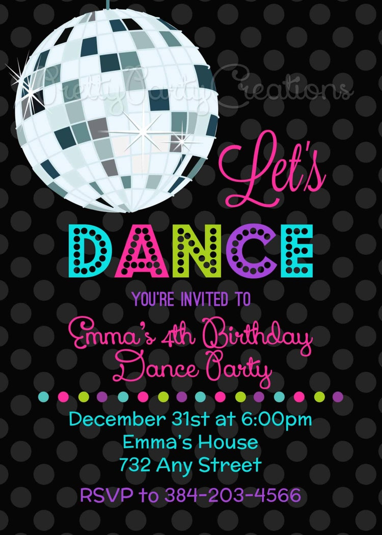let u0026 39 s dance disco ball invitation you by prettypartycreations