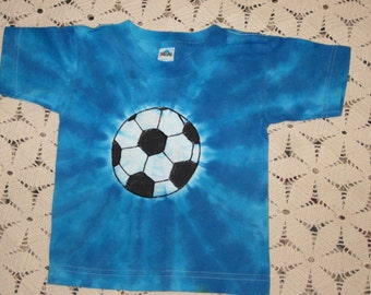 Tie dye 3T shirt is ready to ship today (all other sizes will be dyed and shipped within a week)- Soccer Ball in blues, 250