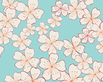 Fabric 1 Yard WISH Cherry Blossoms Aqua Pink Valorie Wells Free Spirit Quilting Sewing