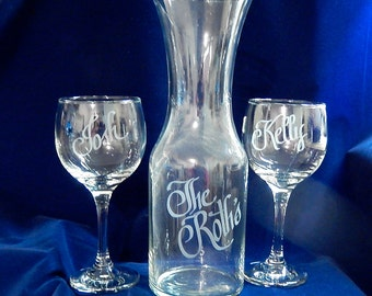 Personalized Wine Unity Set with Full Liter Decanter and Two - 10 oz. wine glasses