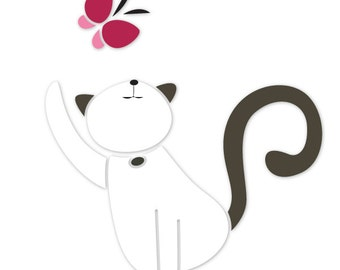 Cat Wall Stencil for Painting Kids or Baby Room Mural  (SKU293-istencil)