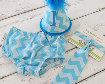 Boys First Birthday Outfit Baby Boy / Toddler First Birthday Cake Smash Diaper Cover Tie and Party Hat Outfit in Two Tone Blue Chevron