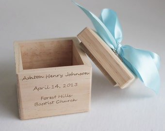 Baptism gifts from godmother Christening Gift Dedication Gift Personalized Baptism Block with open top with sterling silver cross and ribbon