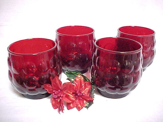 Hocking Royal Ruby Red Bubble Old Fashioned Tumbler Mid Century Glasses