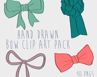 Hand Drawn Bow Clipart, .PNG files Royalty Free, Instant Download