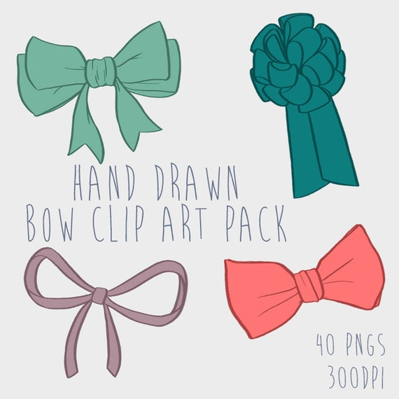 Hand Drawn Bow Clipart Png Files Royalty Free Instant