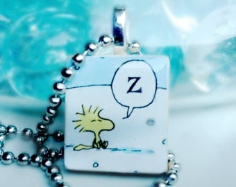 Snoozing Woodstock Game Tile Pendant