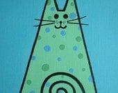 POLKA DOT CAT Painting - Blue/Green 5 x 7 original acrylic painting -  Calypso Cat Collection