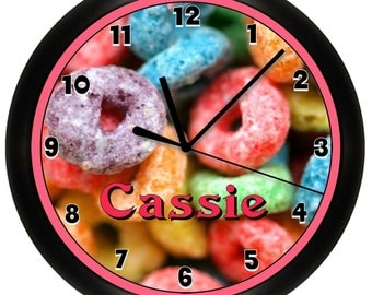 Personalized Fruit Loops Cereal Decorative Wall Clock
