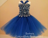 Royal Blue Flower Girl Tutu Dress with Hydrangea flowers with organza petals and Gem Center. Also Available in White, Pink or Ivory Wedding