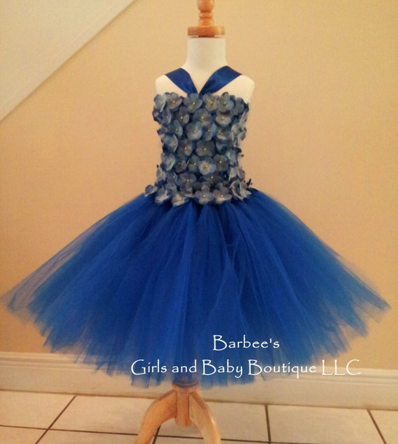 Royal Blue Flower Girl Tutu Dress with Hydrangea flowers with organza petals and Gem Center. Flower Girl Tutu Dress Photo Prop, Wedding