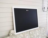 Modern Framed CHALKBOARD Extra Large Magnetic Board - White Framed Blackboard 26.5 x 38.5 Deluxe Handmade Frame and Vintage Button Magnets