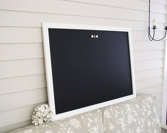 Modern Framed CHALKBOARD Extra Large Magnetic Board - White Framed Blackboard 26.5 x 38.5 Deluxe Handmade Frame and Vintage Button Magnets