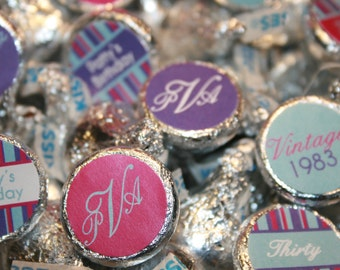 30th Birthday Party- Personalized Chocolate Kiss Labels for Favors or Candy Buffet- Print your own Digital File