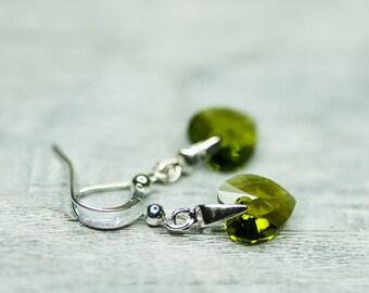 Crystal Earrings, Small Heart Earrings, Olive Green Jewelry, Swarovski Jewelry, Rustic Woodland Earrings, Green Heart Earrings