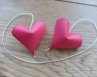 Red Heart Ornament, Origami Heart, 1 Ornament, Valentines Day or Christmas.